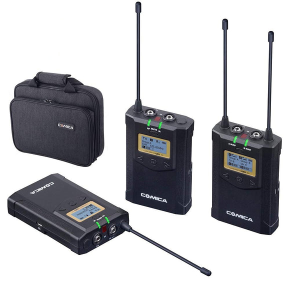 Comica CVM-WM100 Plus UHF 48-Channel Wireless Dual Lavalier Microphone System