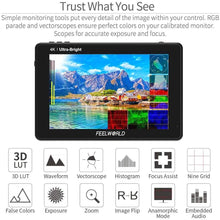 Load image into Gallery viewer, FEELWORLD LUT7S 7 Inch 2200nits DSLR Camera Field Monitor, Small Full HD 1920x1080 IPS Touch Screen 3D LUT Film Video Display Monitors with 4K HDMI SDI Input and Output (LUT7S) - Vitopal