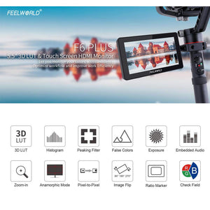 FEELWORLD F6 Plus 5.5' 1920x1080 4K 3D LUT Touch Screen DSLR Camera Field Monitor - Vitopal