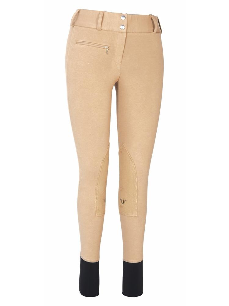 TuffRider Ladies Cotton Lowrise Wide Waistband Knee Patch Breeches_1
