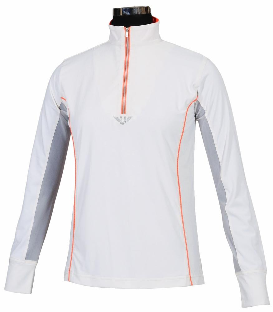 TuffRider Ladies Neon Mock Zip Long Sleeve Sport Shirt_1