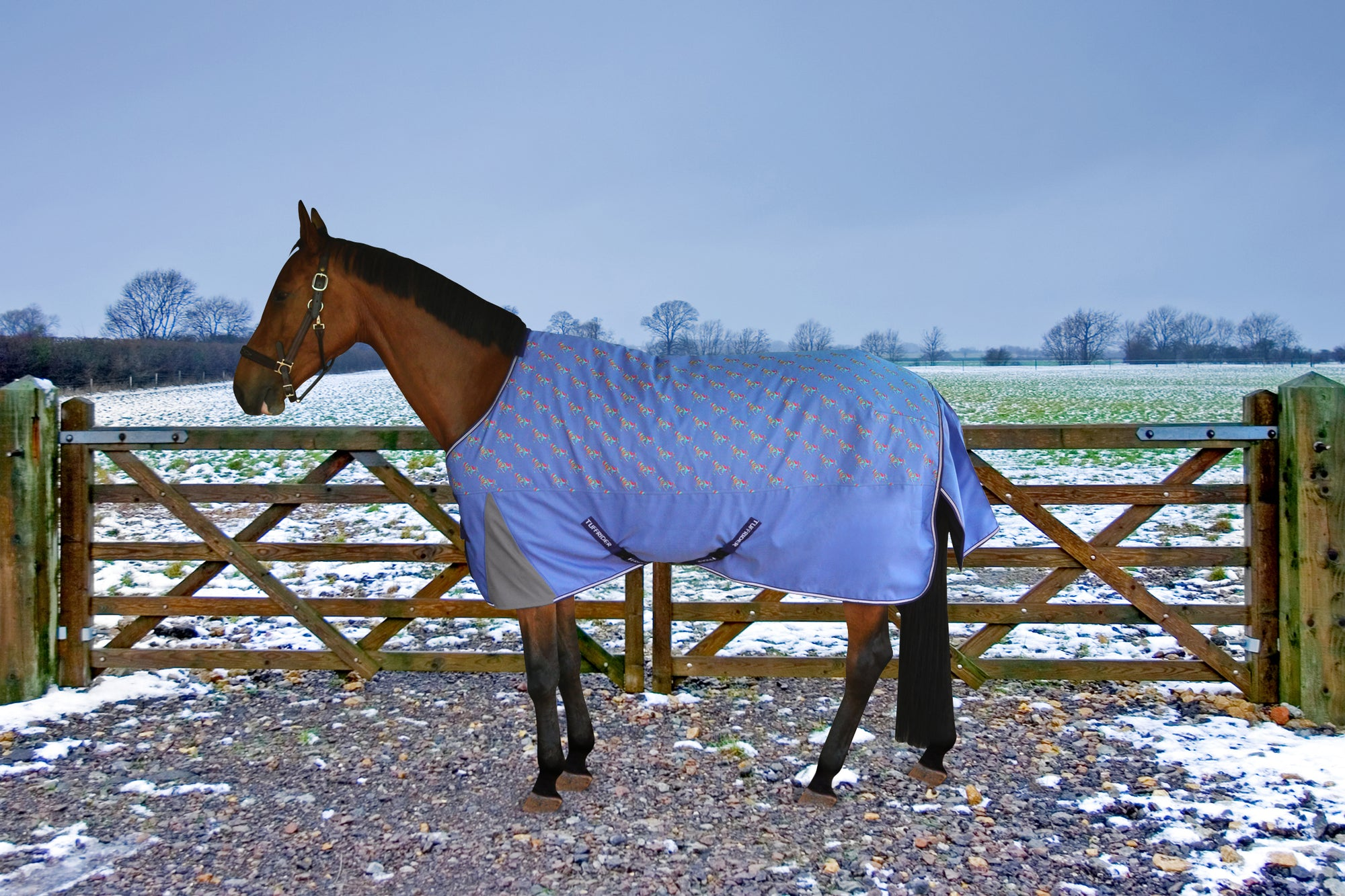 TuffRider 1200D Ripstop Turnout Blanket with 220gms Medium Weight - Adorable Horse Print_1