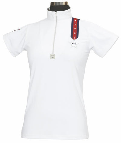 Equine Couture Ladies Stars & Stripes Short Sleeve Polo_1
