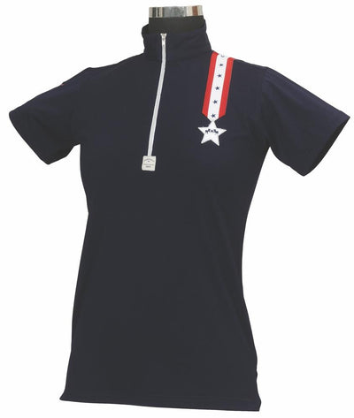 Equine Couture Ladies Stars & Stripes Short Sleeve Polo_2