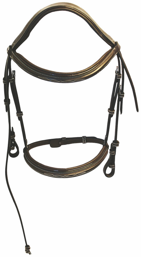 Henri de Rivel Pro Mono Crown Fancy Bridle with Patent Leather Piping and Laced Reins_1