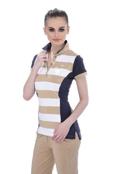 JUMP USA Schooner Ladies Henley Short Sleeve Regular Fit Polo Shirt_1