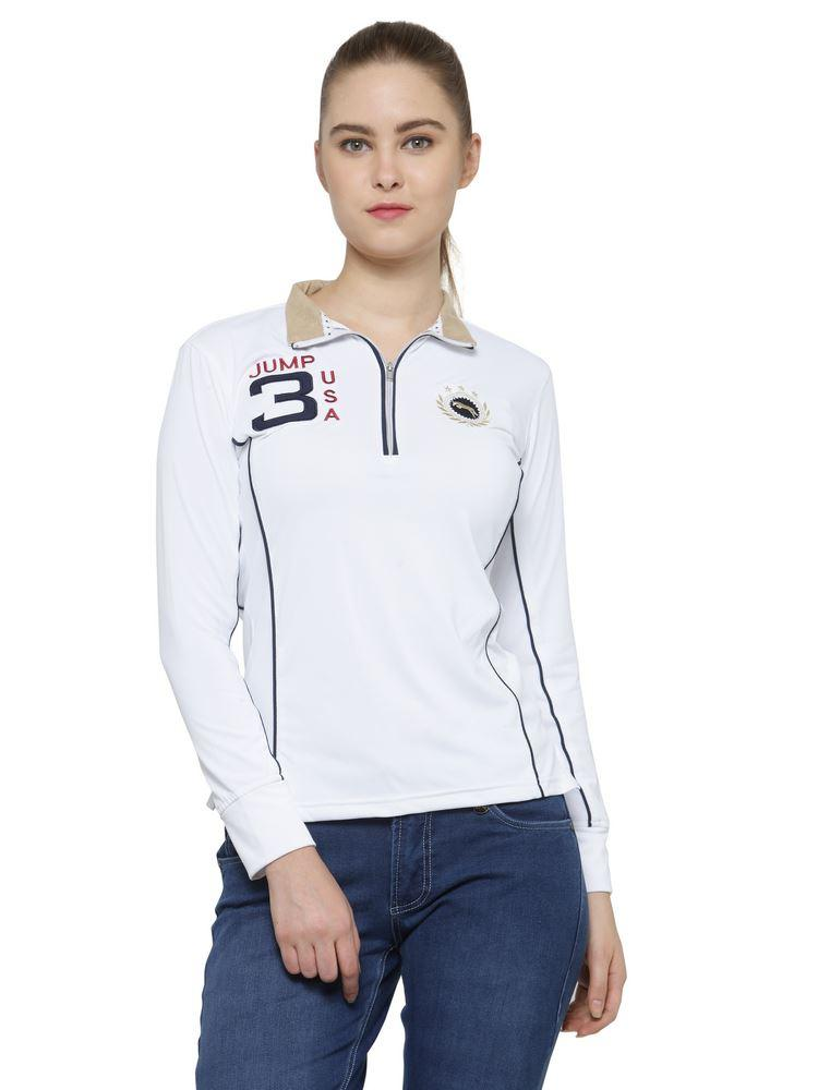 Captain Ladies Long Sleeve Regular Fit Zip Front T-Shirt - JUMP USA - Breeches.com
