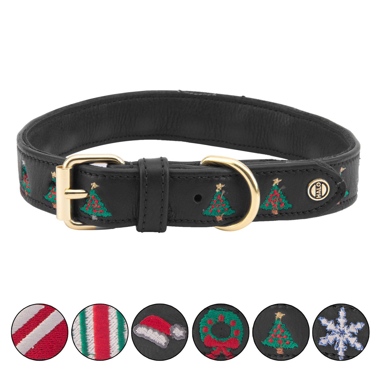 Dog Collar - Leather with Christmas Christmas Tree Embroidery - Halo - Breeches.com