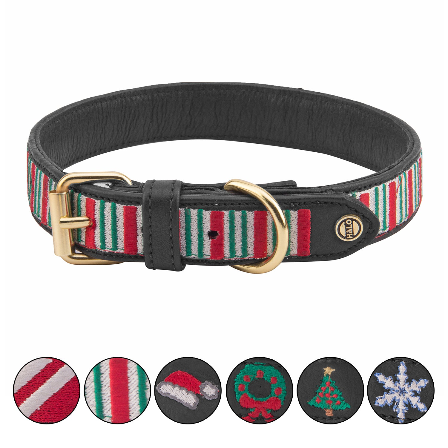 Dog Collar - Leather with Christmas Stripes Embroidery - Halo - Breeches.com