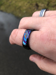 Tikron flame-treated titanium damascus band