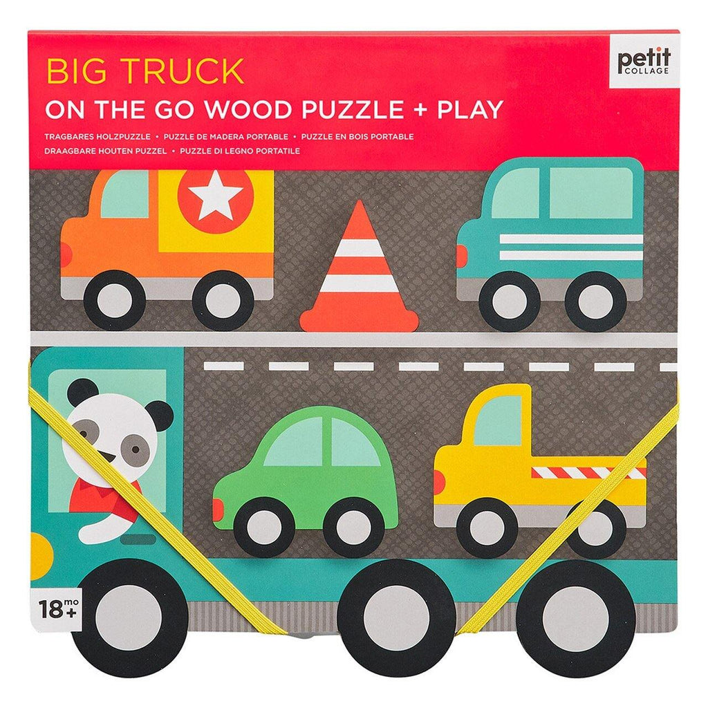 Petit Collage Big Truck Chunky Wood Puzzle - kapbulaorganics