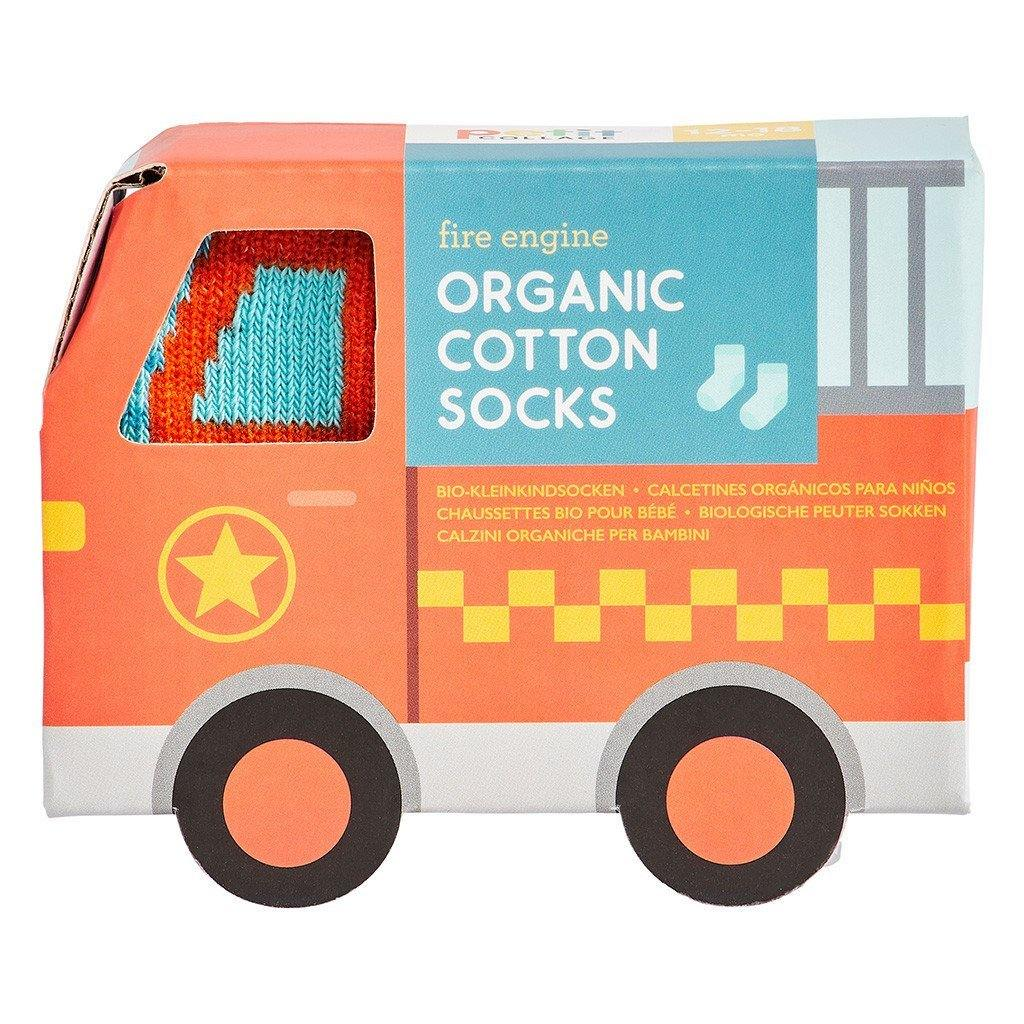 Organic Fire Engine Toddler Socks (12-18 Months) - kapbulaorganics
