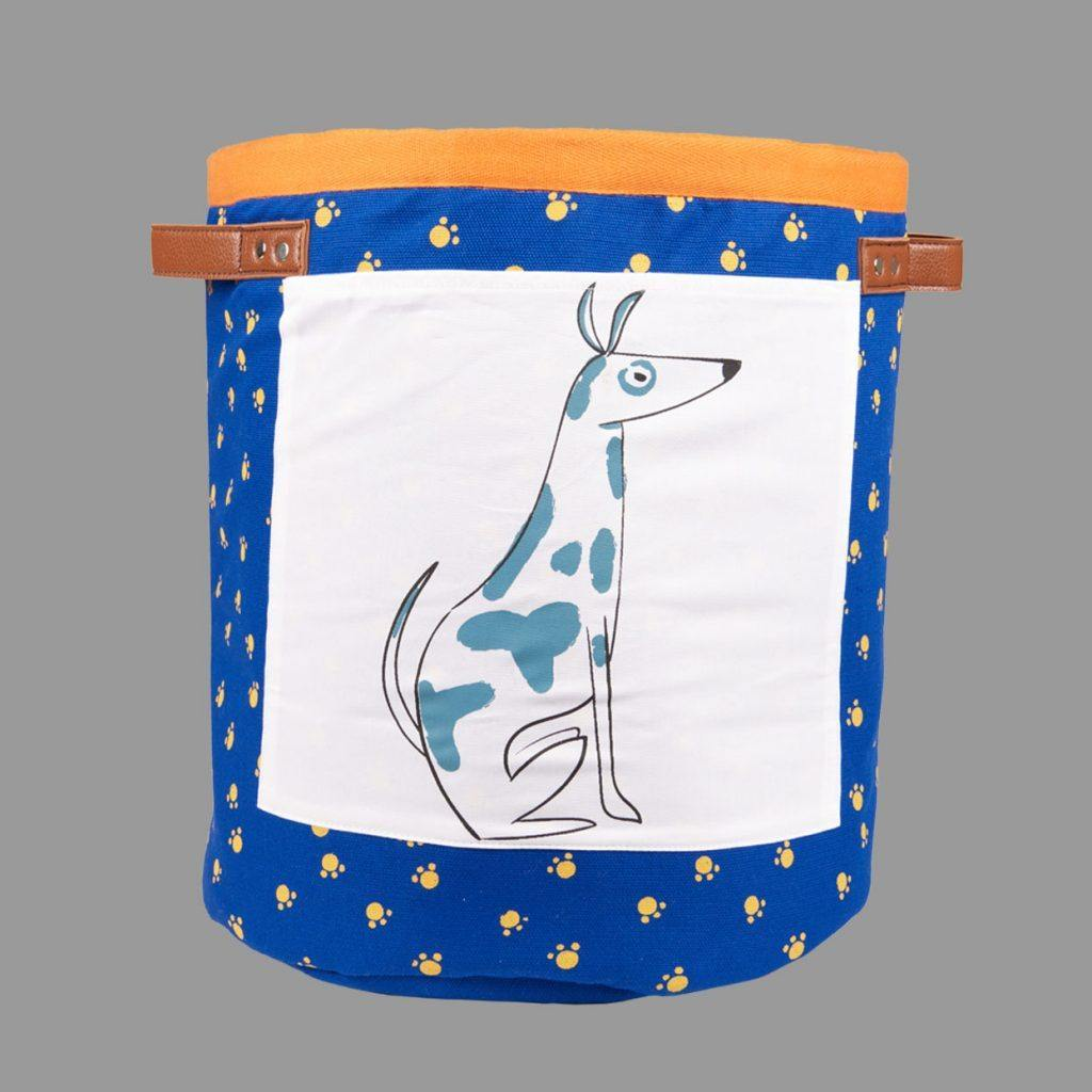 Canvas Laundry Storage Bucket Dog Blue - kapbulaorganics