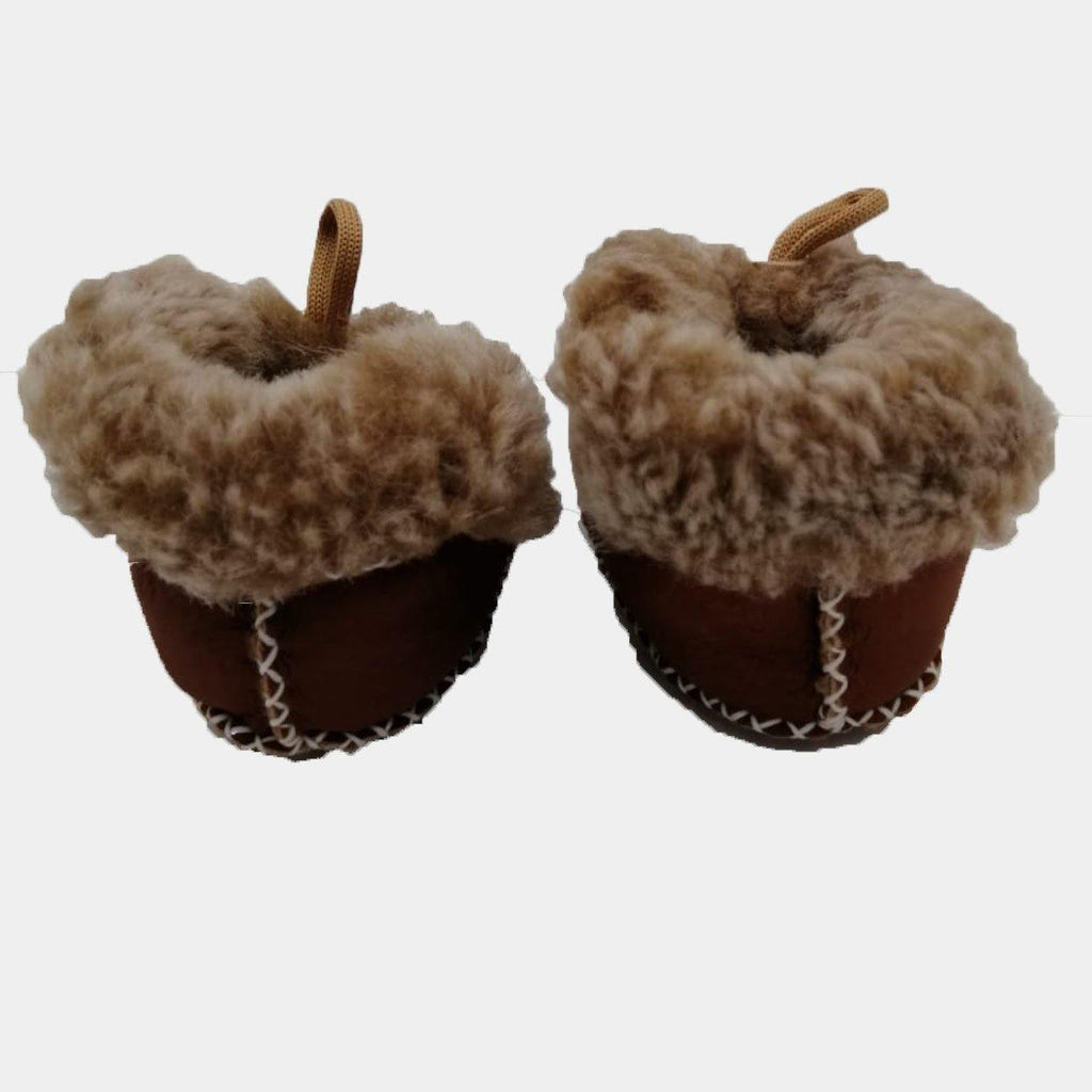 Upcycled Leather Furry Booties Dark Brown - kapbulaorganics