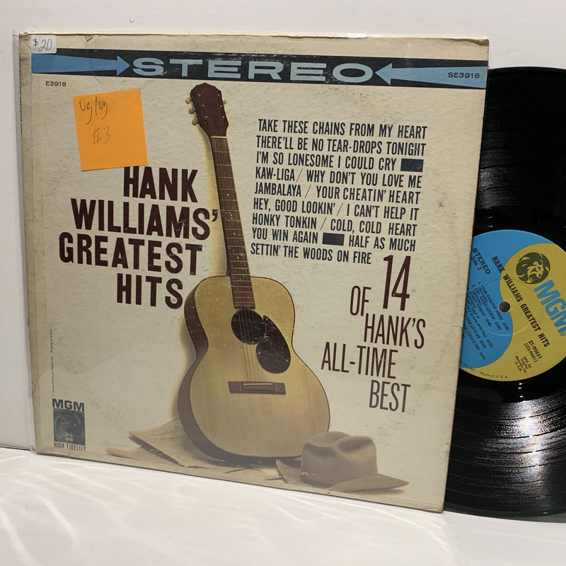 Hank Williams' Greatest Hits- MGM Country LP Comp- VG/VG