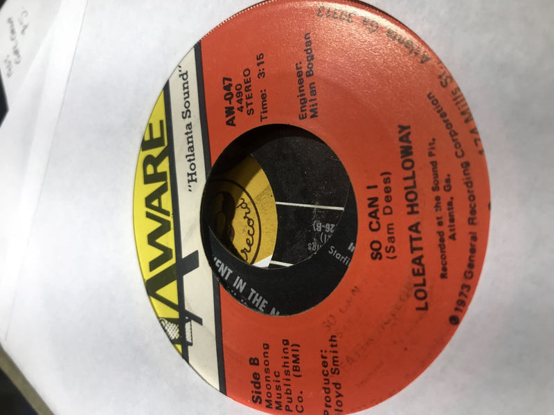 Loleatta Holloway- Cry To Me/So Can I- Aware AW-047 VG++ Soul 45