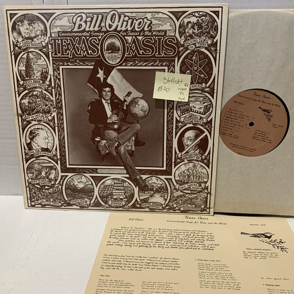 Bill Oliver Texas Oasis Environmental Songs Texas Folk Private Record LP VG++