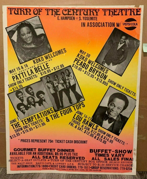 Temptations Peabo Lou Rawls Original Boxing Style Soul Cardboard Concert Poster