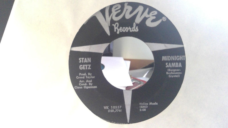 Stan Getz ‎– Midnight Samba / Once - Verve VK-10557 - Jazz 45 - VG(+)