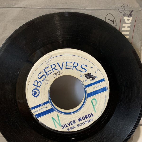 "Ken Boothe Silver Words Observers Reggae 45rpm Single 7"" G+ Jamaica"