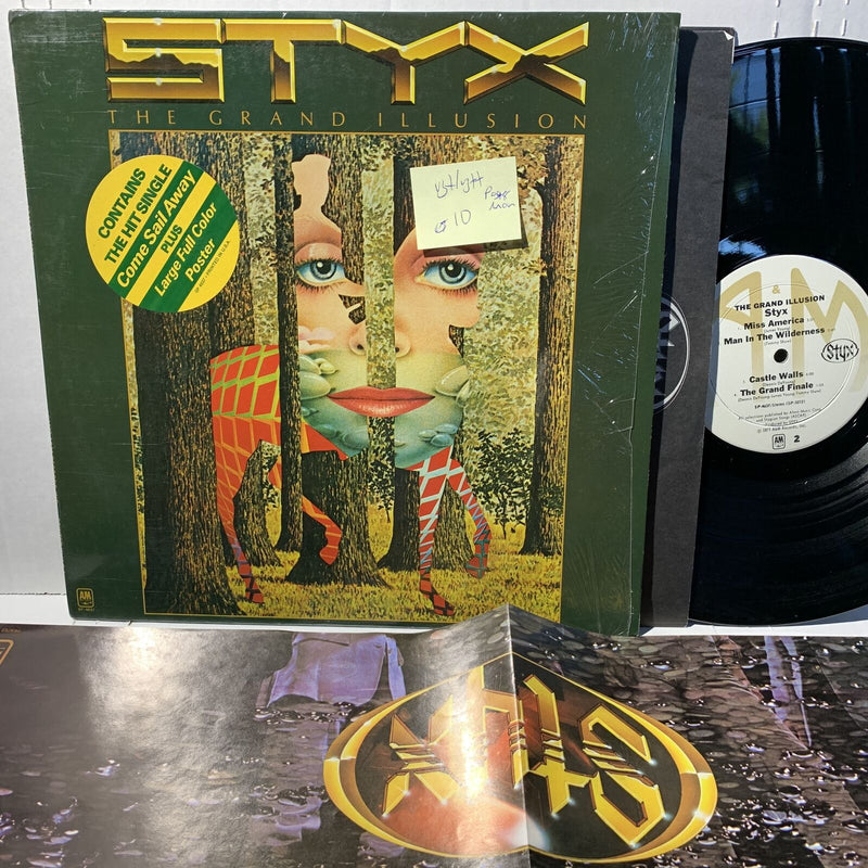 Styx The Grand Illusion A&M SP 4637 VG+/VG++ Prog Rock Record w/ poster