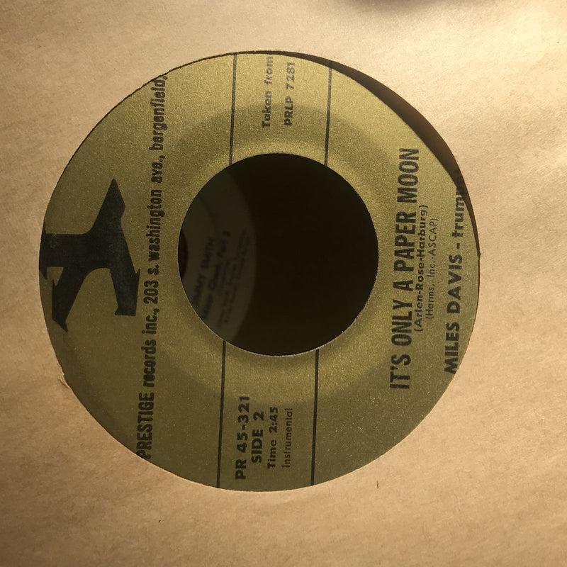 Miles Davis- Dig/Its Only A Paper Moon- Prestige 45-321- VG+ Jazz 45