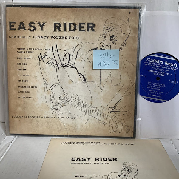 "Leadbelly Vol 4 Easy Rider- Folkways FA 2034 VG+/VG+- Blues 10"" Record LP"