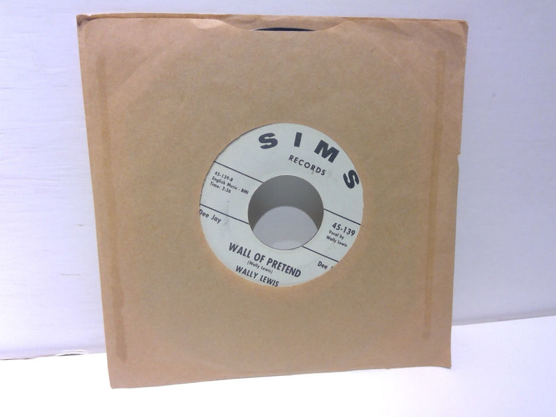 Wally Lewis- Wall Of Pretend/Kathleen- Sims 45-139 PROMO- VG+ Rockabilly 45RPM