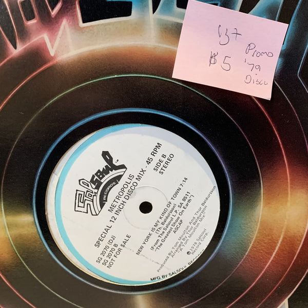 "Metropolis- New York Is My Kind Of Town- Salsoul Promo VG+ Disco 12"" Single"