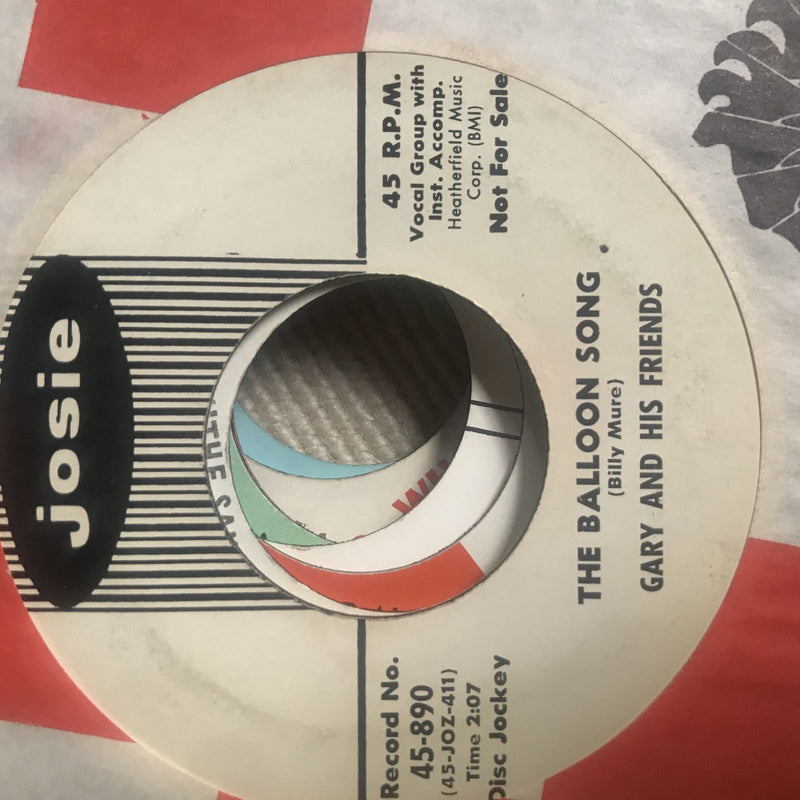 Gary & His Friends- The Balloon Song- Josie 890- Promo- Pop VG+