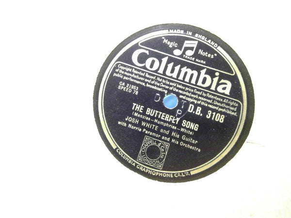 Josh White The Butterfly Song Aint Got Nothing But The Blues Columbia 3108 UK 78