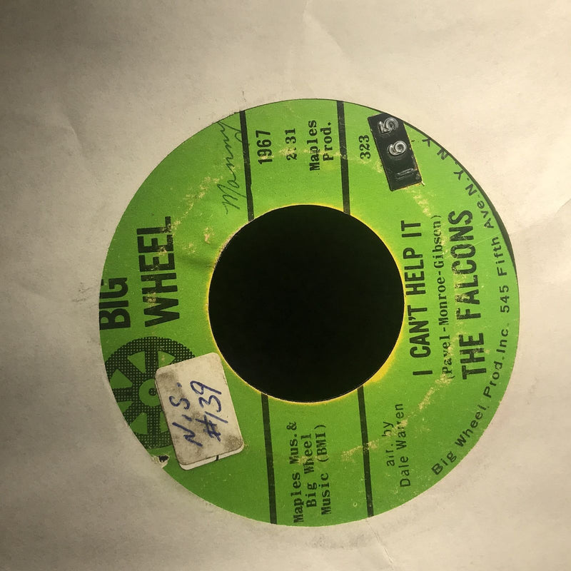 The Falcons- I Cant Help It/Standing On Ground- Big Wheel 1967- G+++