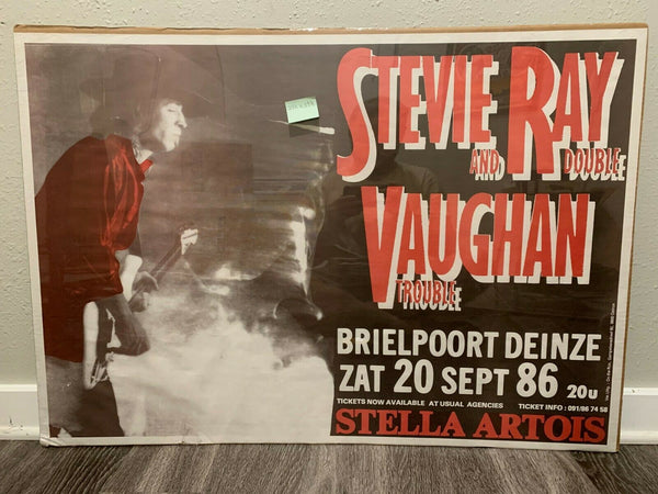 Stevie Ray Vaughan Double Trouble LARGE 1986 Original Belgium Concert Poster