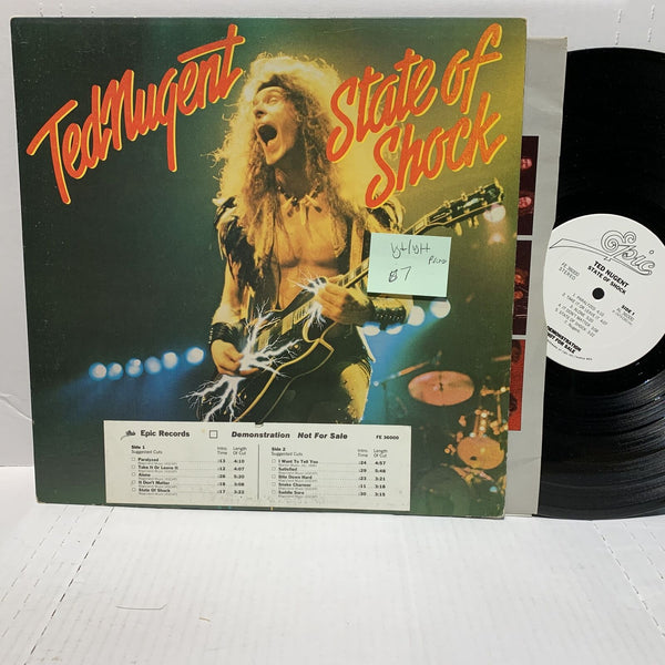 Ted Nugent State Of Shock- Epic FE 36000 VG+/VG++ Promo LP Rock