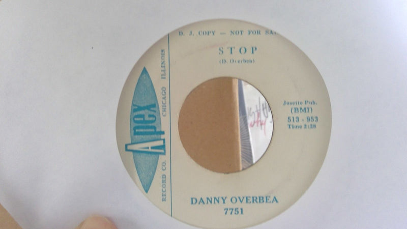 Danny Overbea- Don't Laugh At Me/ Stop- EX- Apex 7751 PROMO Blues 45