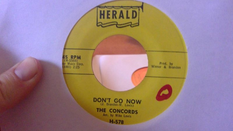 The Concords - Don't Go Now / Cold & Frosty Morning- Herald 578 - VG+ Doo Wop 45