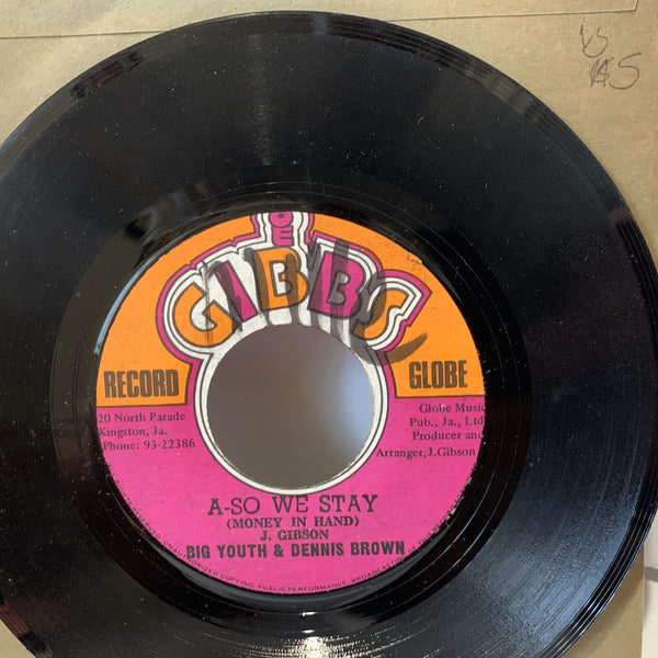 Big Youth Dennis Brown A So We Stay- Gibbs VG Reggae 45 Record Single