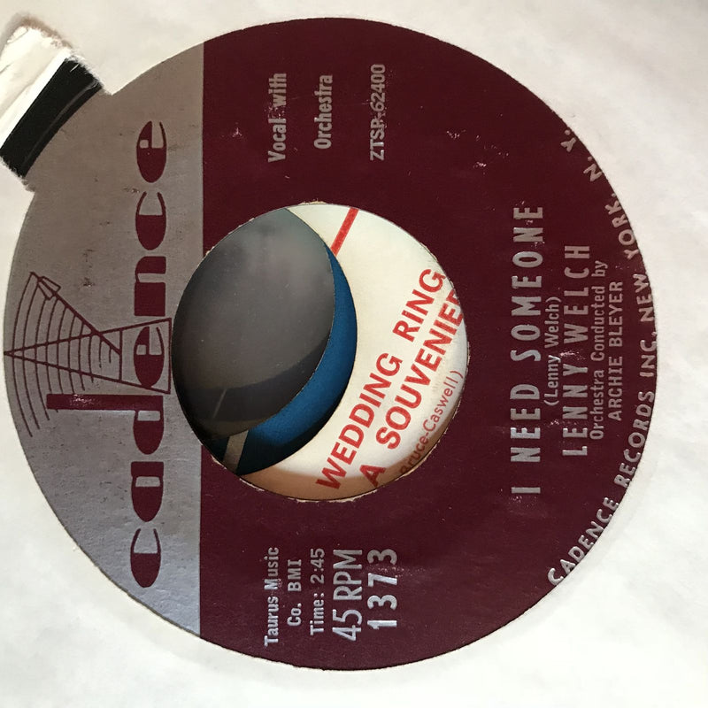 Lenny Welch- You Don't Know Me/I Need Someone- Cadence 1373- EX