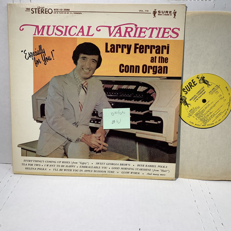 Larry Ferrari Conn Organ Musical Varieties- Sure 710 VG(+) Jazz Record