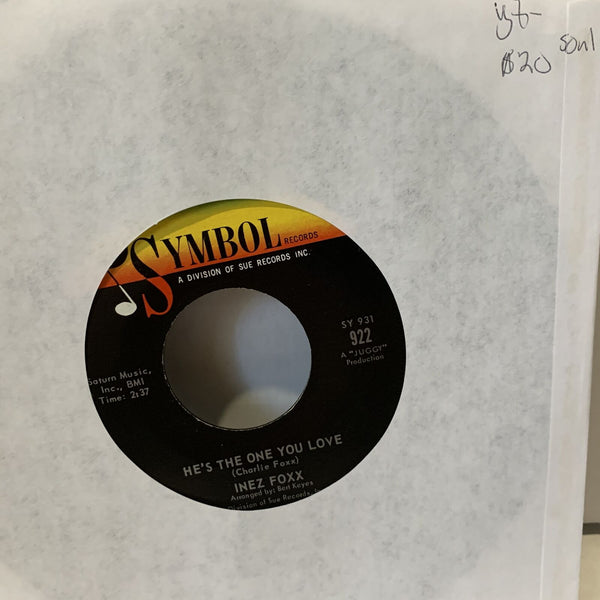 Inezz Foxx He's The One You Love- Symbol 922 VG+- Soul 45rpm Record single