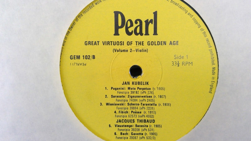 Great Virtuosi of the Golden Age Vol. 2 Violin- Pearl GEM 102- VG+- UK Press