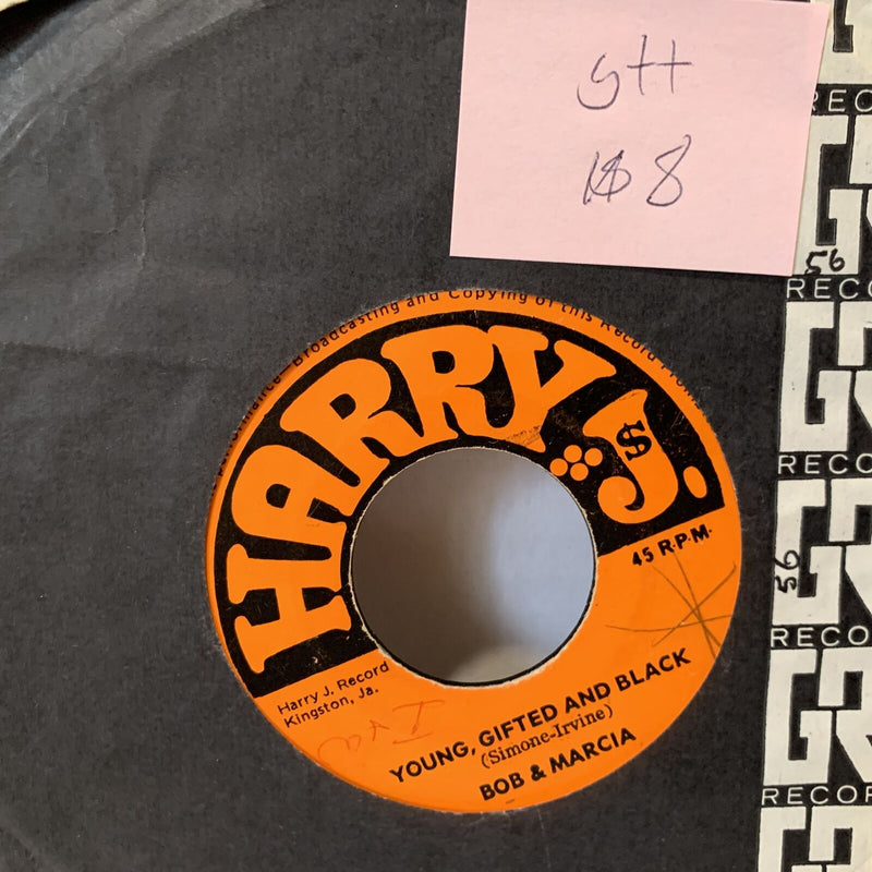 Bob & Marcia Young Gifted & Black- Harry J's G++ Jamaica Reggae 45 Record