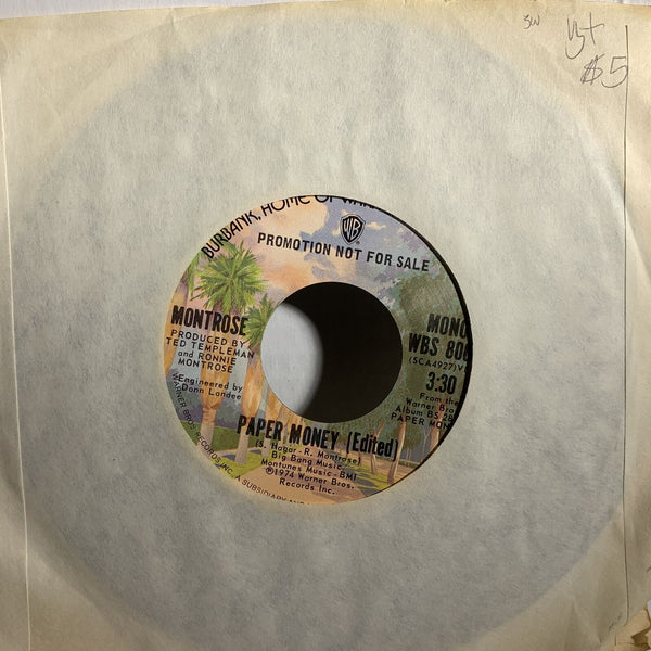 Montrose Paper Woman- Warner Bros Promo Rock 45 Record Single VG+ SW