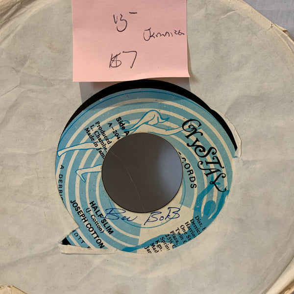 Joseph Cotton Half Slim- Crystal 204 Jamaica Press 45 Reggae Record Single VG-