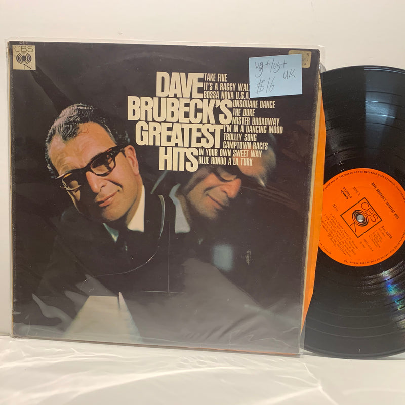 Dave Brubeck's Greatest Hits- CBS UK Jazz Comp LP- VG+/VG+