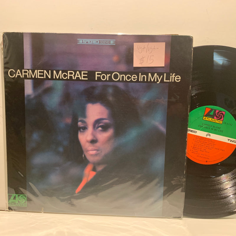 Carmen McRae- For Once In My Life- Atlantic Stereo Soul Jazz LP- VG+/VG+-