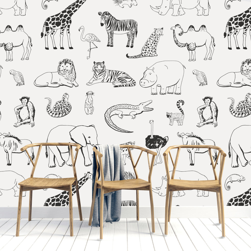 MONOCHROME SAFARI WALL MURAL