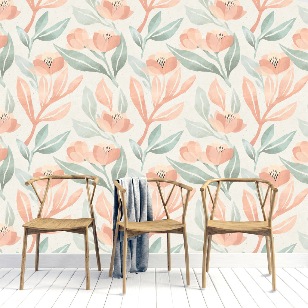 PEACHY WATERCOLOUR BLOSSOMS WALLPAPER