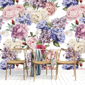 PURPLE AND PINK FLORAL MURAL