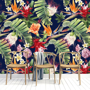 BRIGHT TROPICAL FLORAL MURAL